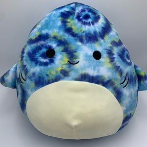 """Squishmallow Luther The Tie Dye Shark 16"""" Plush !"""